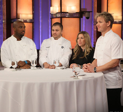Chef Ramsay and the former contestants of Hell's Kitchen await Joy's dish.