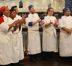 Both teams are pleased with Chef Ramsay's announcement of the Hell's Kitchen calendar dish.