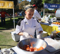 Melanie preparing her one of her favorites, grilled Mahi Mahi.