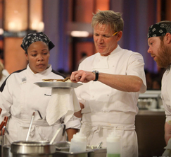 Chef Ramsay disappointingly points out that Kashia's halibut is undercooked.