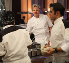 A frustrated Chef Ramsay inquires about Scott's lengthy risotto.