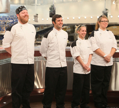 The 4 remaining contestants await the next surprise from Chef Ramsay.