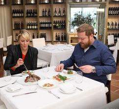 Jason and Sous Chef Andi dine at Fig & Olive during Jason's VIP culinary tour.