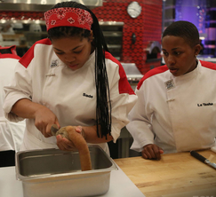 Sade and La Tasha stay focused as they precisely cut into the Gooey Duck.