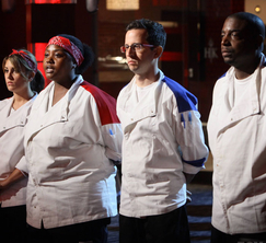 Denine, Janai, Fernando, and Sterling await Chef Ramsay's final decision for elimination.