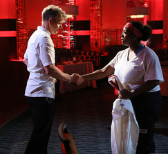 Chef Ramsay says farewell to a disappointed Janai after failing to cook risotto repeatedly.