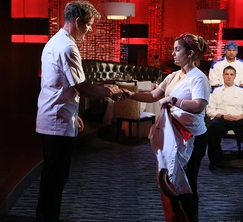 Denine shakes Chef Gordon Ramsay's hand after being eliminated.