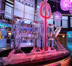 A beautiful ice sculpture forged by a chainsaw decorates the restaurant tonight.