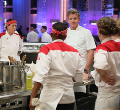 The Red Team lagged behind the Blue Team throughout the duration of dinner service.