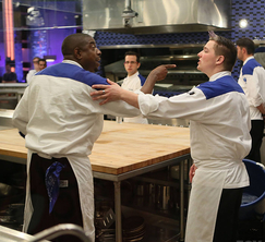 Tempers flair and fingers are pointed in the Blue Kitchen.