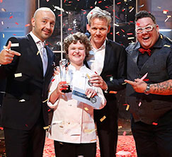 The judges pose with Season 1 MasterChef Junior winner, Alexander!