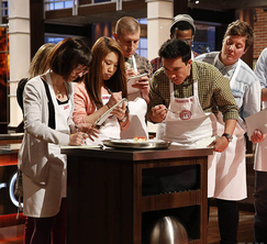 The contestants chosen to create Alexander's passion fruit panna cotta examine and taste the dish.