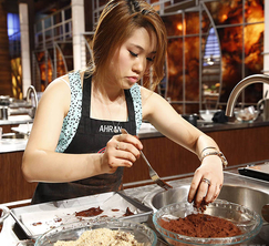 Ahran, who just lost her confidence, works on her milk chocolate mocha truffles.