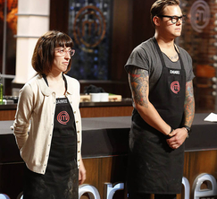 After all three pressure tests, the judges must choose between Jaimee and Daniel.  After a very close call, it is Daniel who must leave the kitchen.