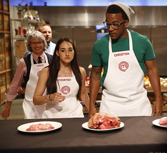 The contestants learn what interesting cuts of meat Elizabeth has chosen for them to work with.